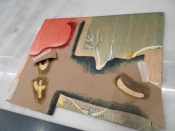 "Thumbnail image of ""Stencil on the woodblock, demo"""