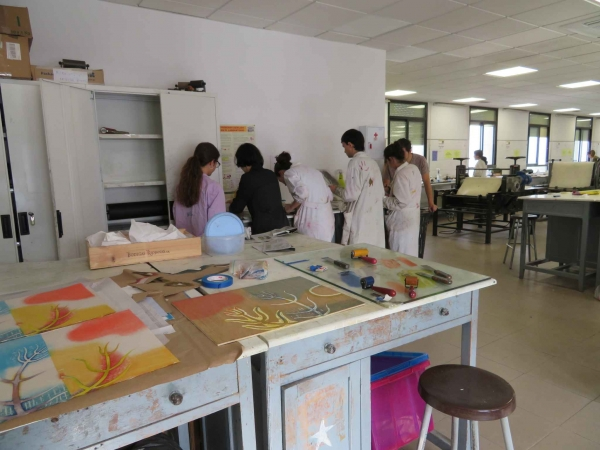 """Last day printing, and students working on their drypoints,University of Seville, Spain"""