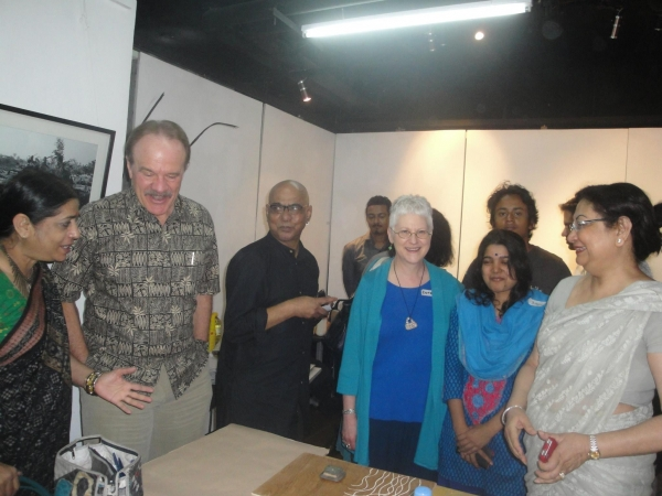 """US Ambassodor Dan Mozena views the activities of the workshop, sponsored by the Fulbright grant, at Athena Gallery, Dhaka, Bangladesh, May"""