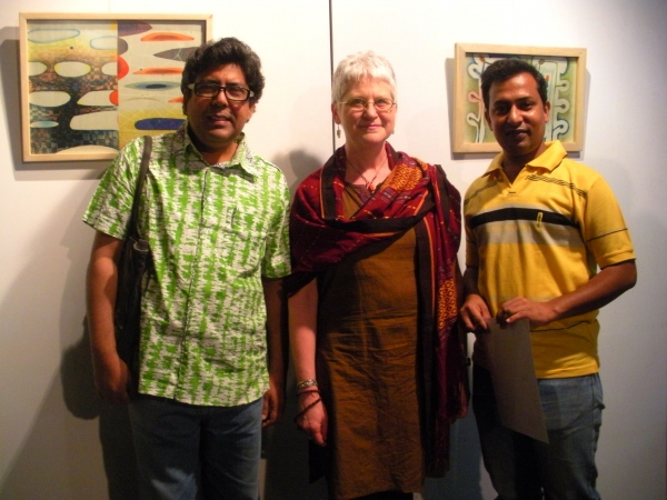"""3 generations: Karen with former student (from 1995) Rashid Amin and his student in the current workshop Dhaka, Bangladesh."""