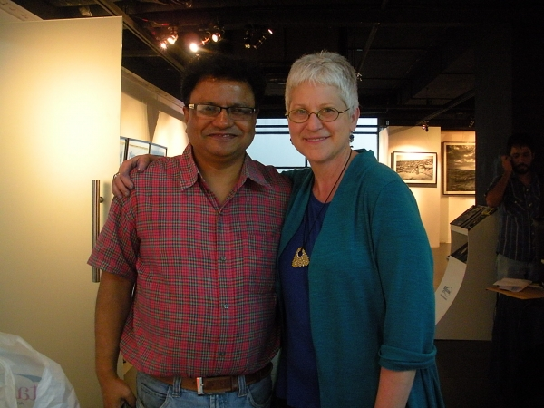 """Karen with Rafi Haque, a former student from 1995!, now an artist and editor, Dhaka, Bangladesh"""